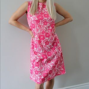 Bright Pink Floral Mod Pencil / Shift Dress